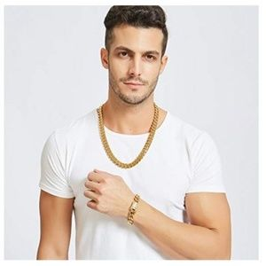 Miami Cuban Link 18K Gold Overlay Chain With CZ